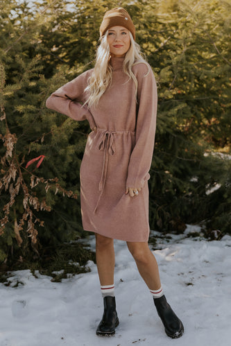 Soft tan neutral sweater dress | ROOLEE