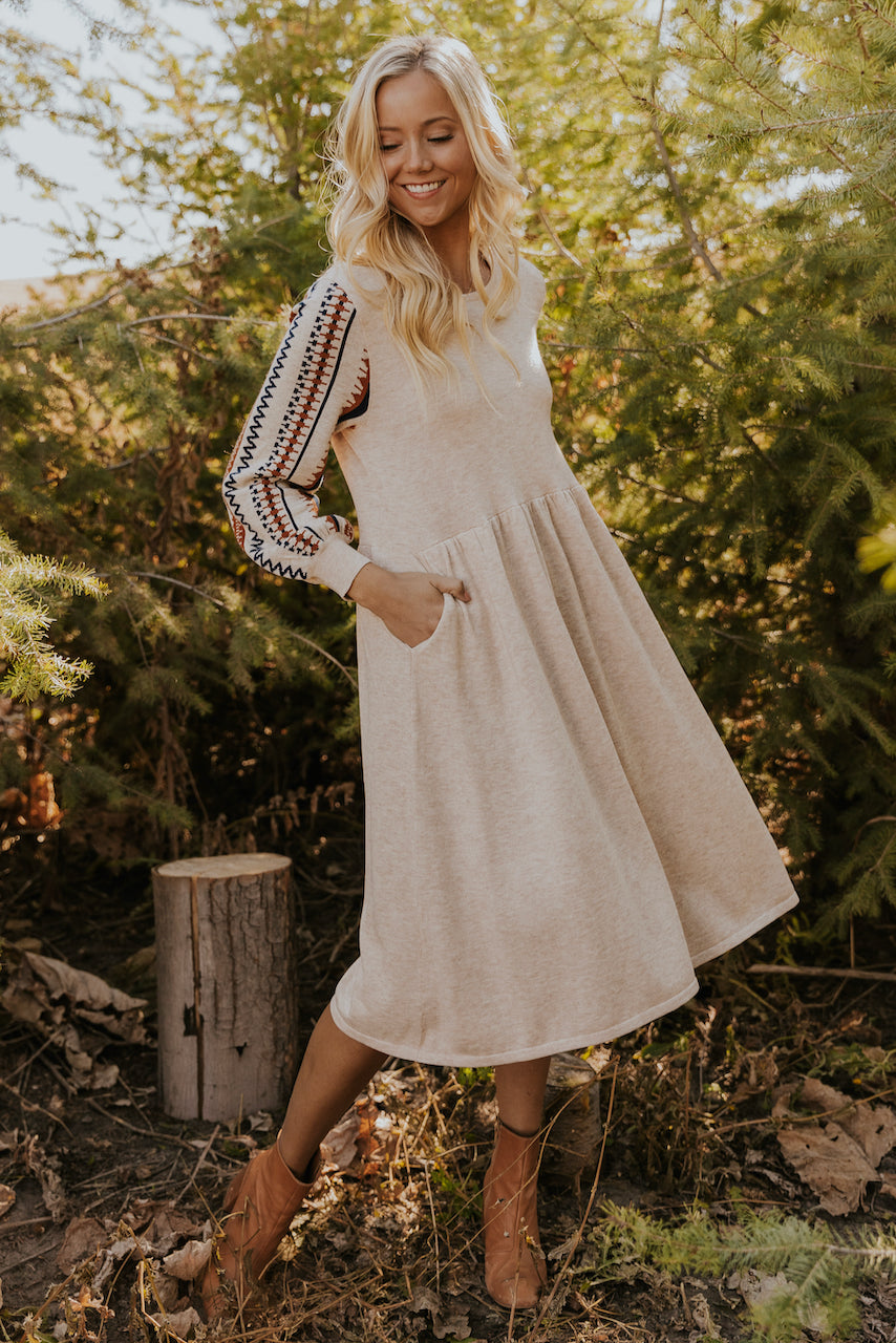 Embroidered Long Sleeve Dress | ROOLEE