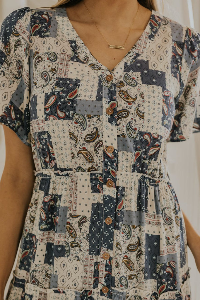 Button up front blue spring dresses | ROOLEE