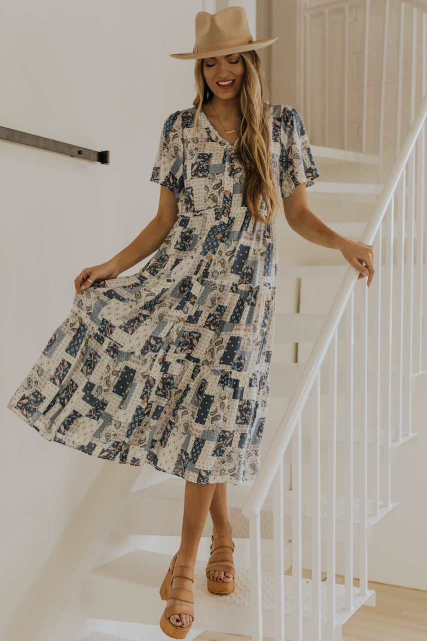 Cute patchwork dress for spring | ROOLEE