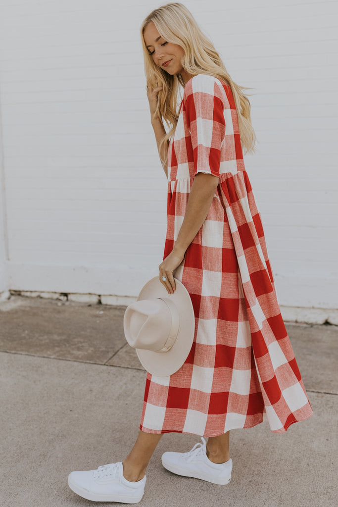 Red Plaid Mom Dress | ROOLEE