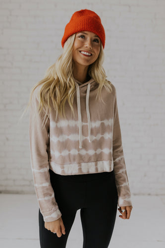 Tan tie dye crop hoodie for women | ROOLEE