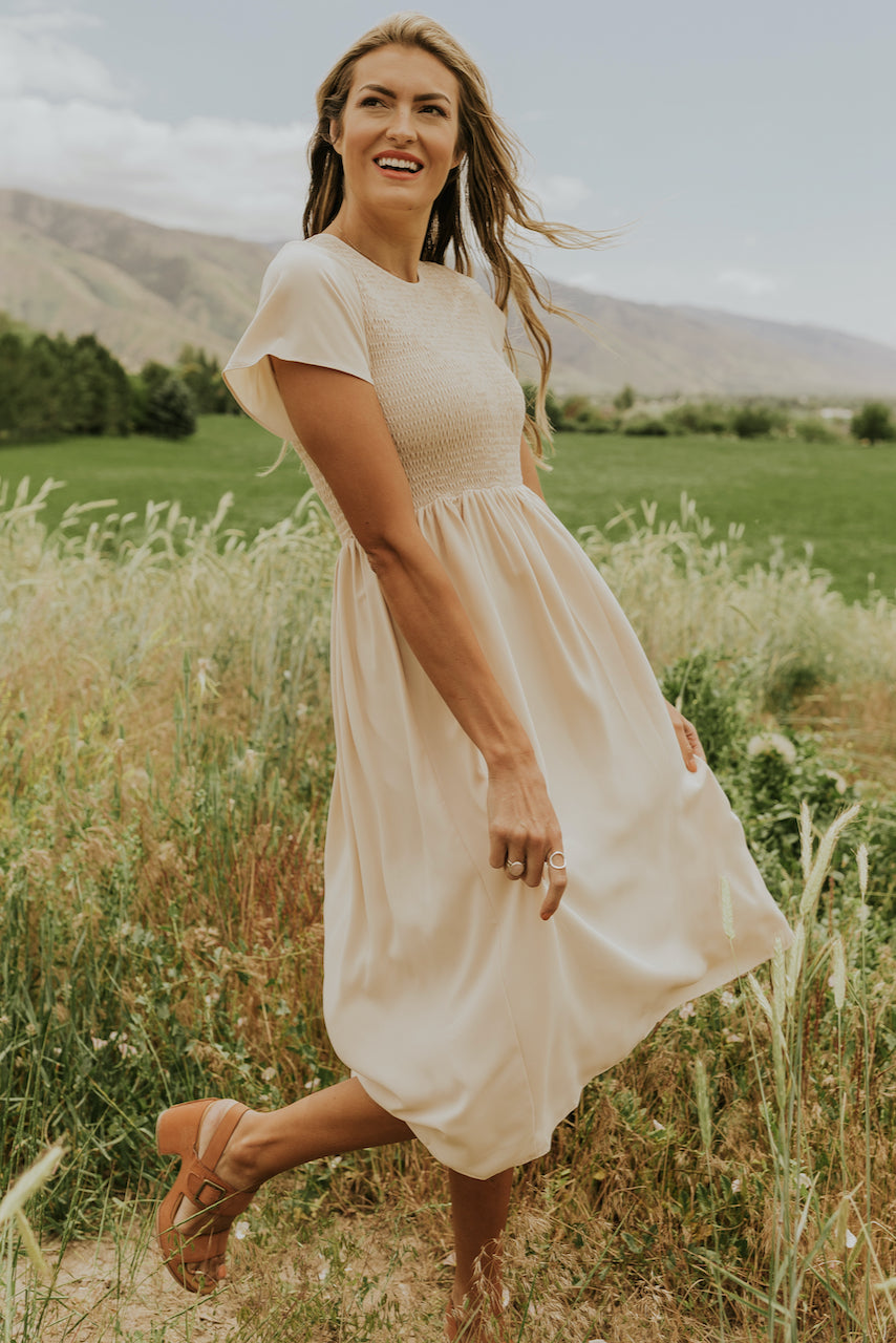 Short sleeve cream dresses for women | ROOLEE