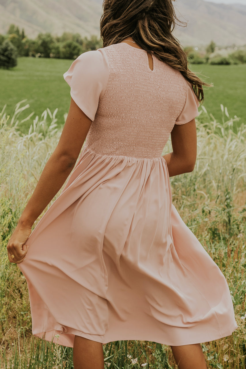 Pink ruched modest dress | ROOLEE