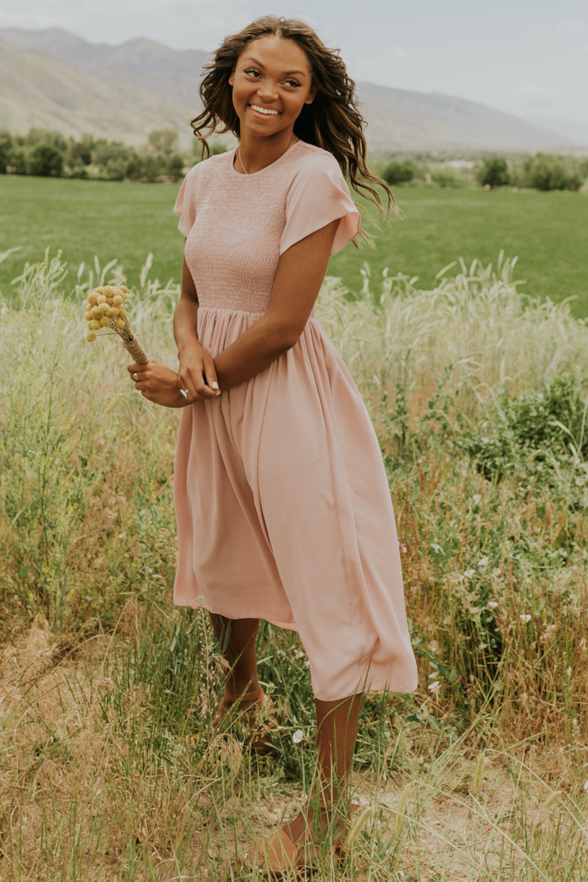 Simple crew neck pink dress | ROOLEE