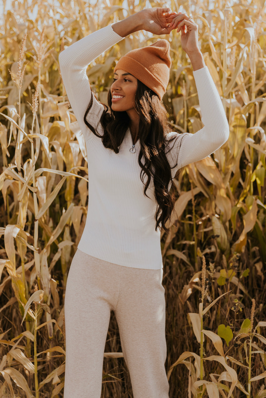 White Zipper Long Sleeve | ROOLEE