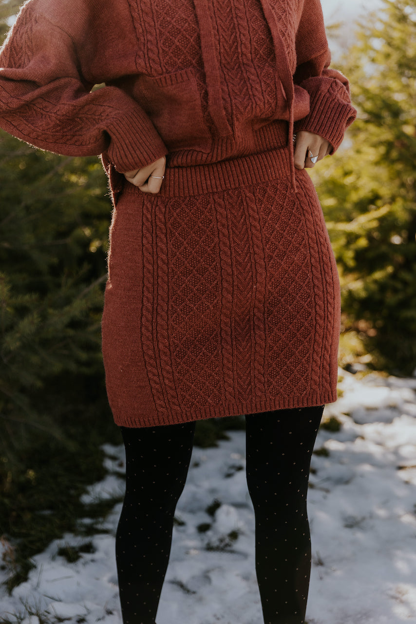 Cute red knit christmas sweater skirt sets | ROOLEE