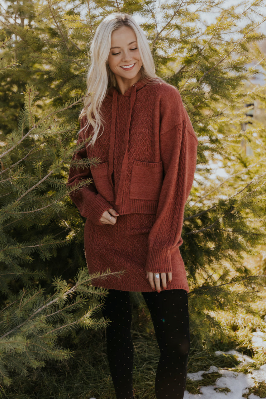 Red knit pullover hoodie for women | ROOLEE