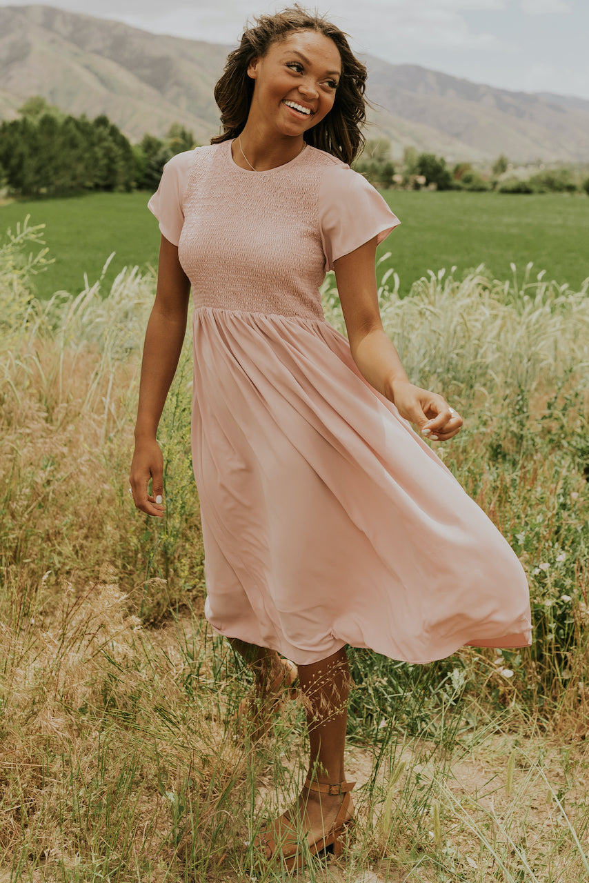Pink ruched flutter sleeve dress | ROOLEE