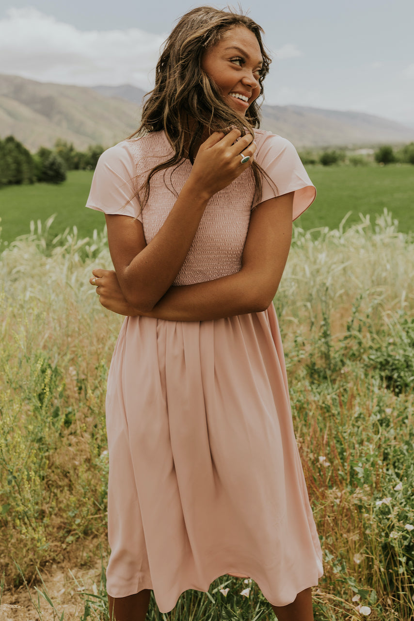 Blush pink flowing bridesmaid dresses | ROOLEE