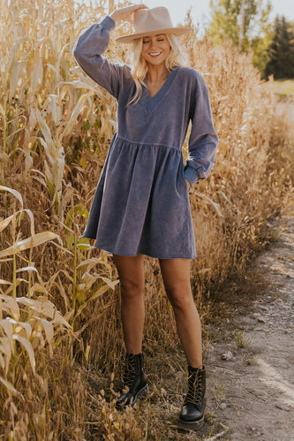 Blue acid washed babydoll dress | ROOLEE