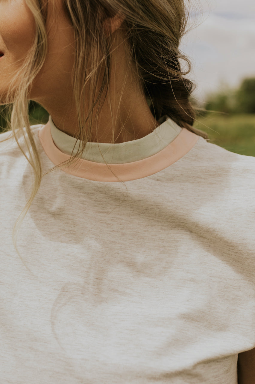 Pink Collar Grey Top | ROOLEE