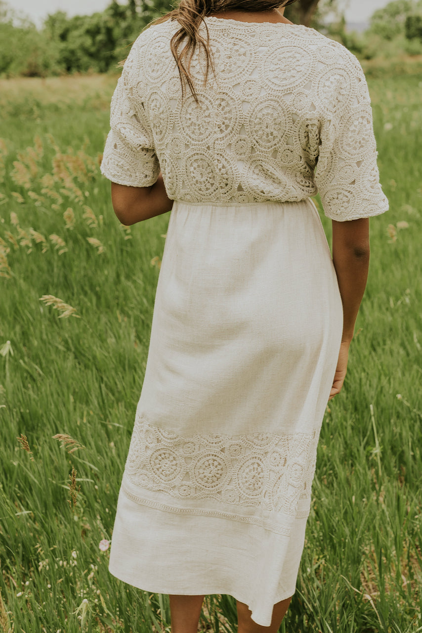 White lace detail dress | ROOLEE