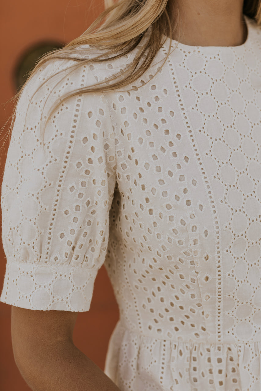 Cream Eyelet Top | ROOLEE