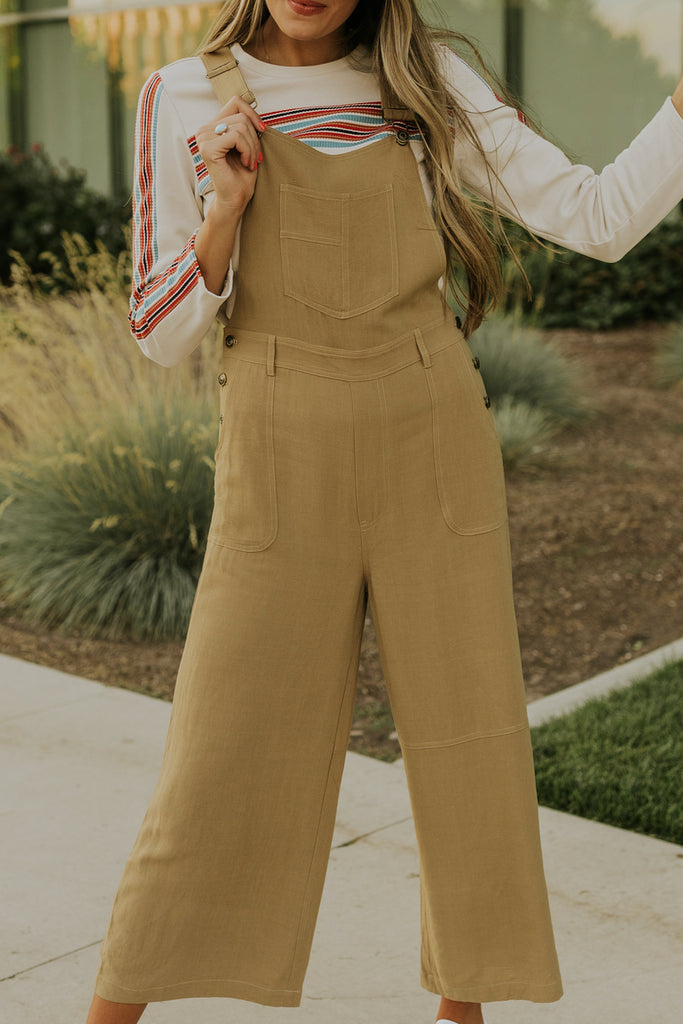 Wide leg vintage tan jumpsuits for fall | ROOLEE