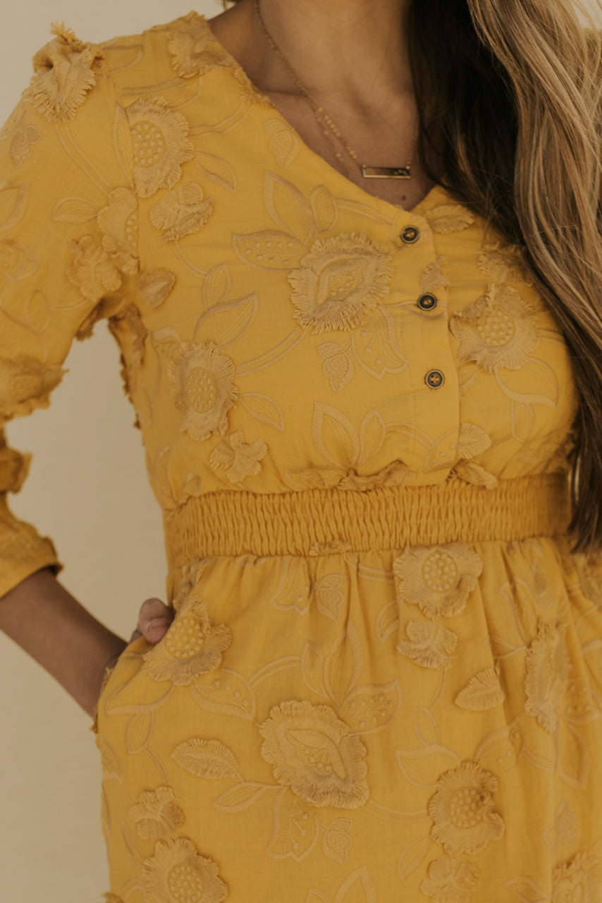 Mustard Maternity Friendly Lace Dresses | ROOLEE