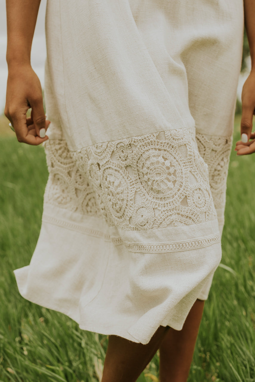 Embroidery lace detail dress | ROOLEE
