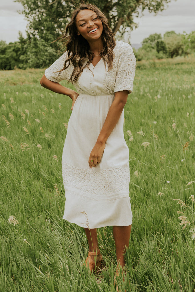 ivory delicate lace dress | ROOLEE