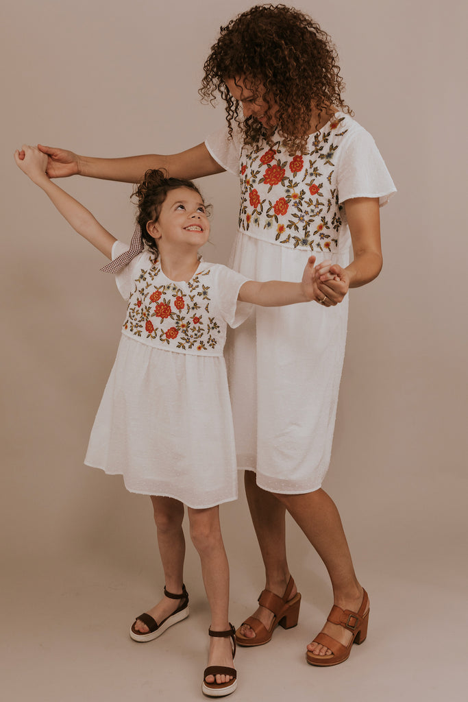 Mommy and Me Matching White Floral Embroidered Dresses | ROOLEE