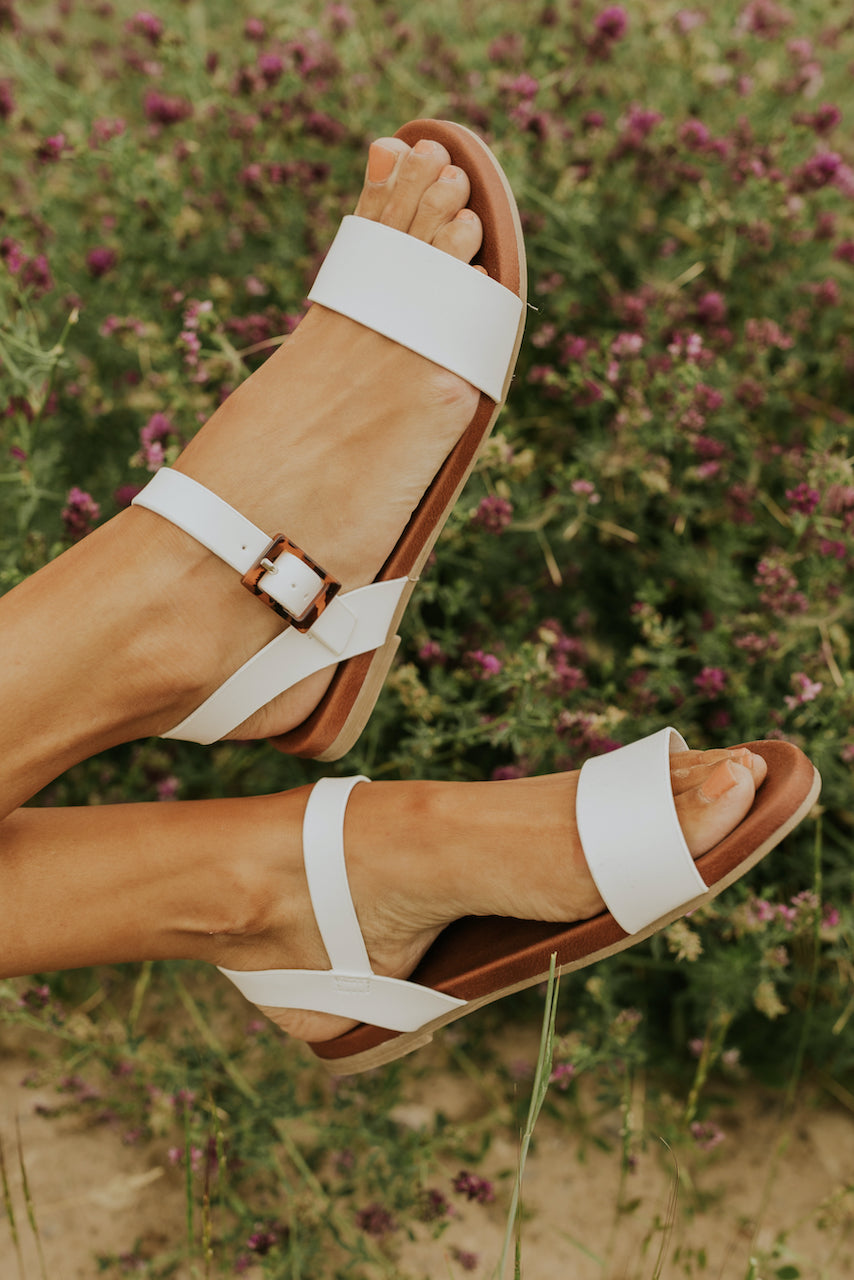 White Buckle Sandals | ROOLEE