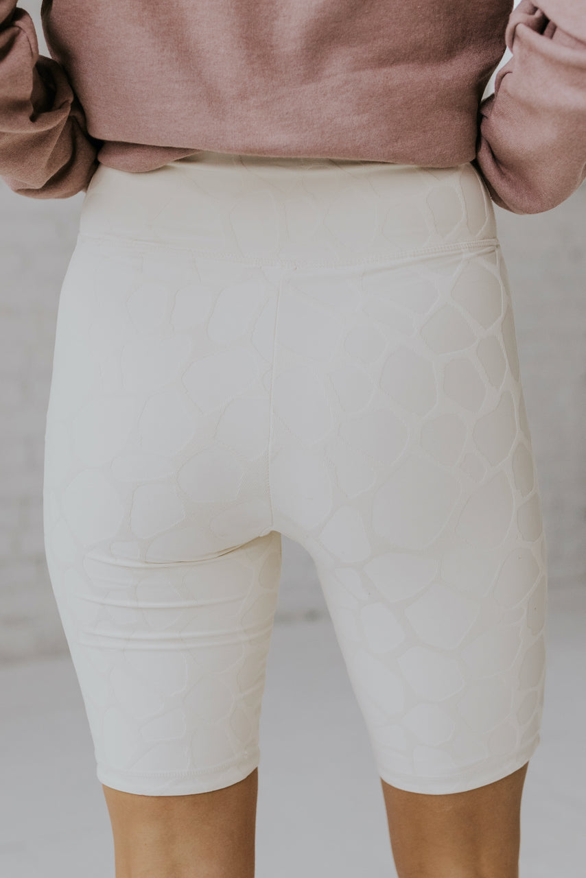 White Textured Biker Shorts | ROOLEE