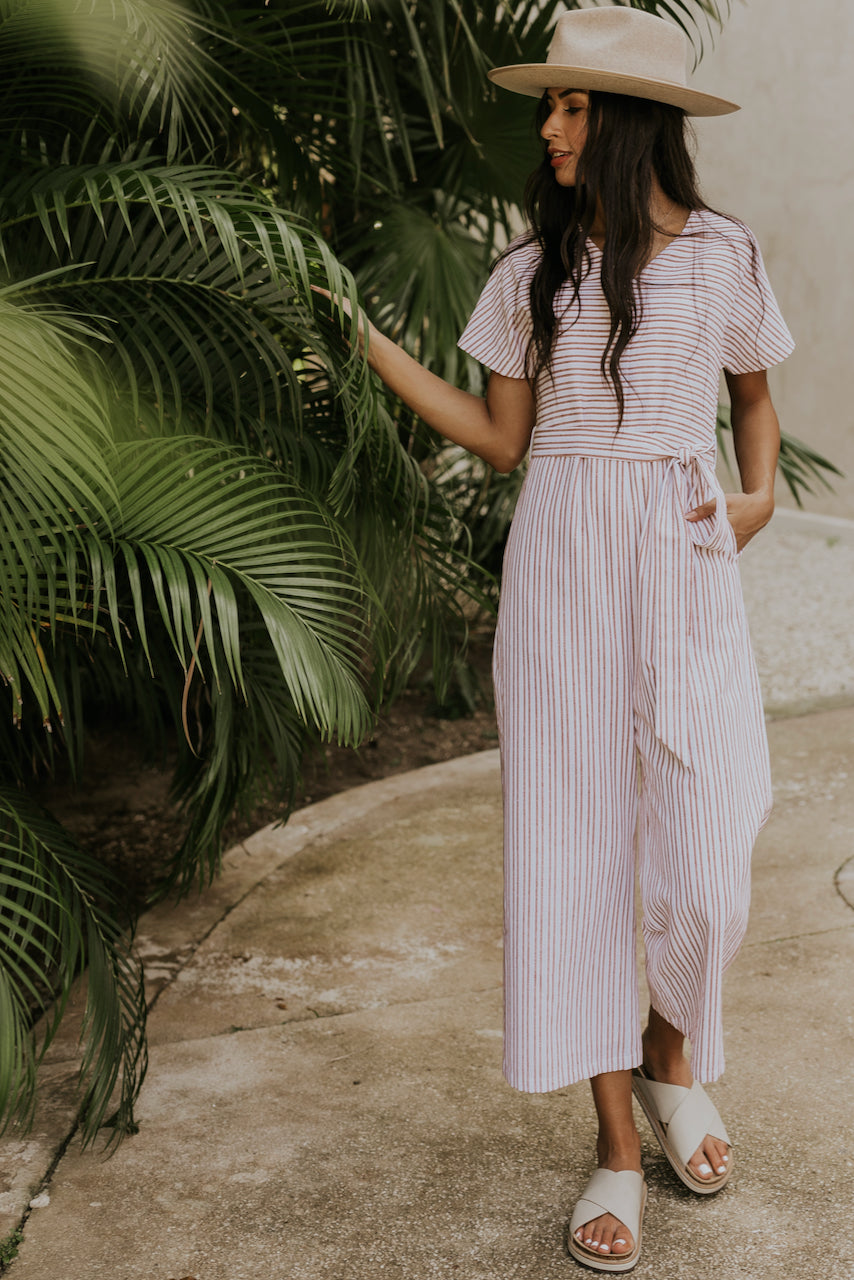 Flattered By You Pinstripe Jumpsuit