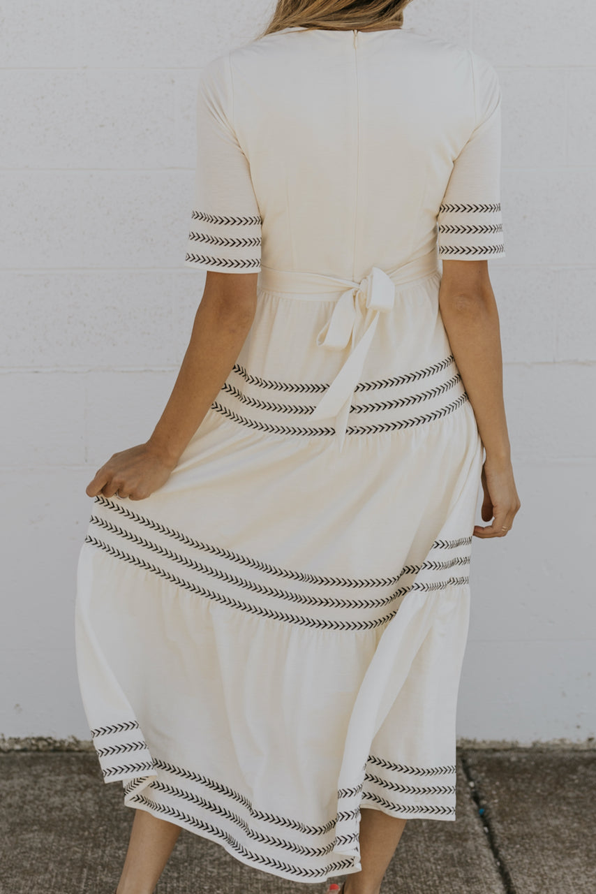 Long white maxi dresses with embroidery | ROOLEE