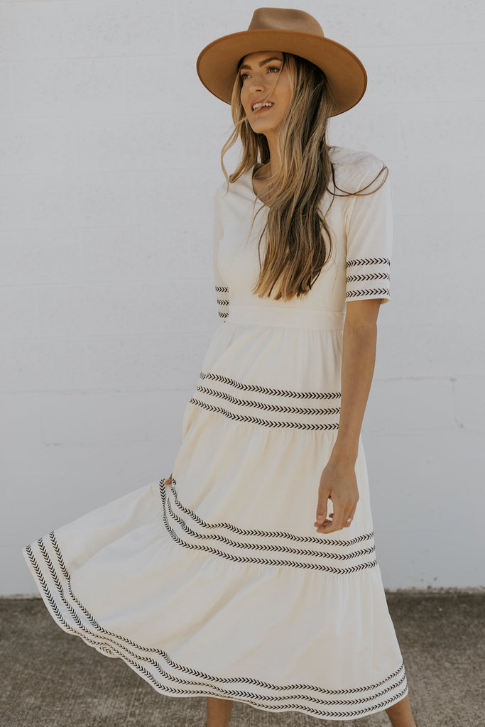 White cream tiered dresses | ROOLEE