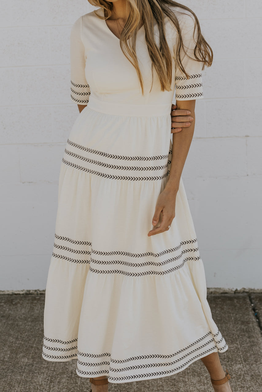 V neckline modest maxi dresses in white | ROOLEE