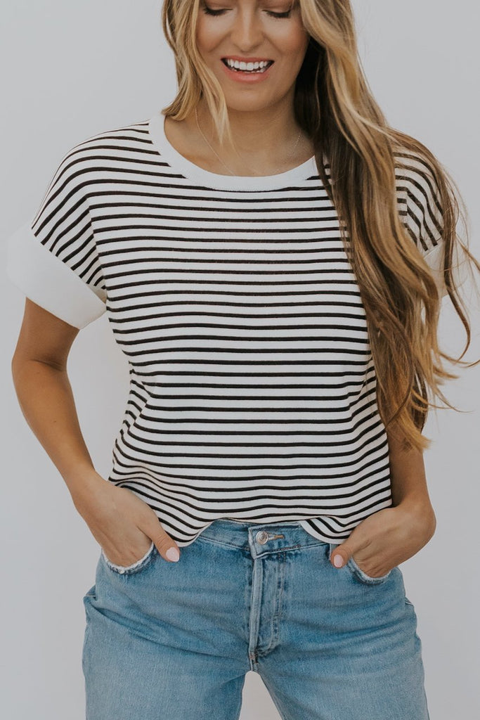 Relaxed Fit Stripe Tops for Spring | ROOLEE