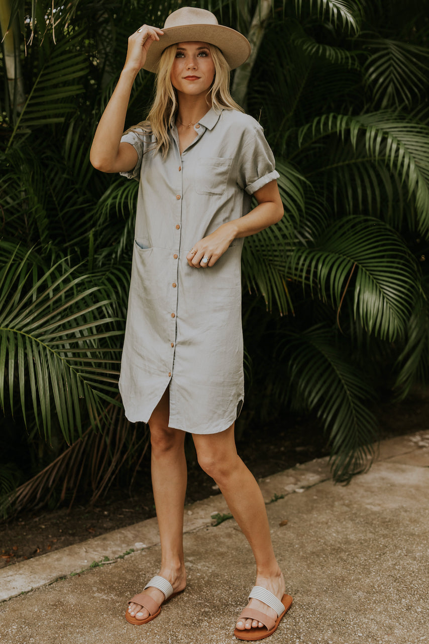 Grey button up dresses | ROOLEE