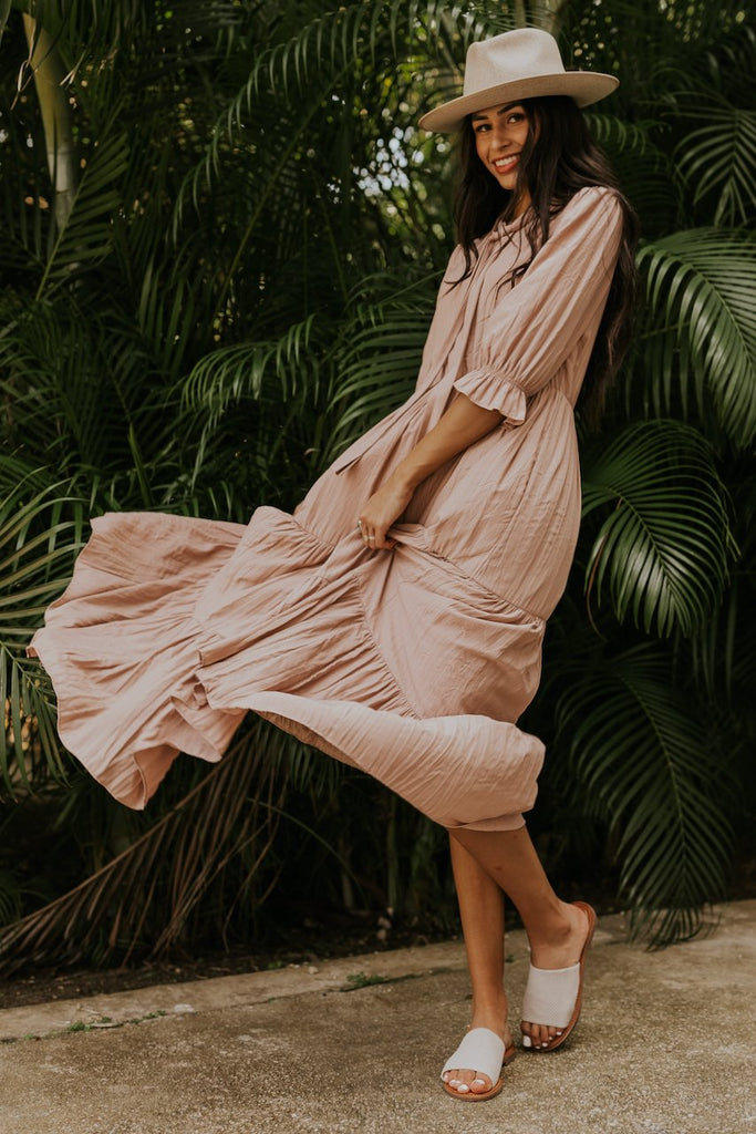 Light blush maxi dresses for bridesmaids | ROOLEE