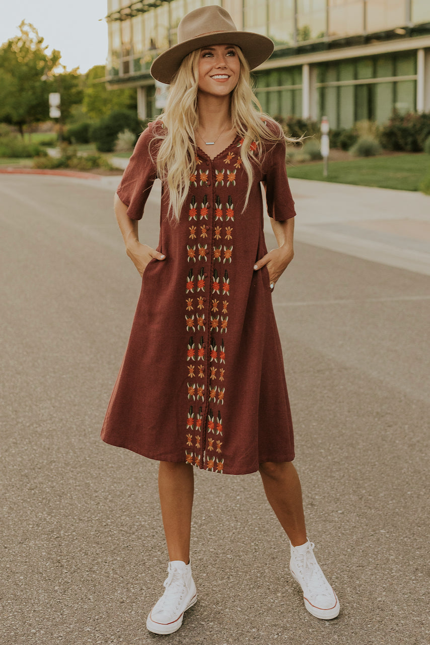 Honey and Pine Embroidered Dress