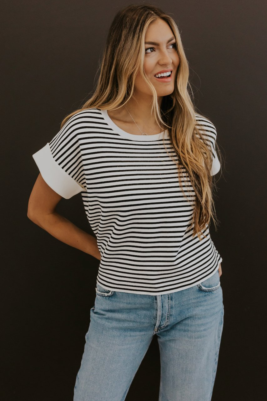 Black and White Stripe Tees for Girls | ROOLEE