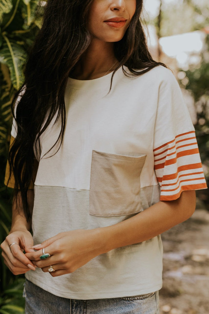 Cute boxy tee with stripes for women | ROOLEE
