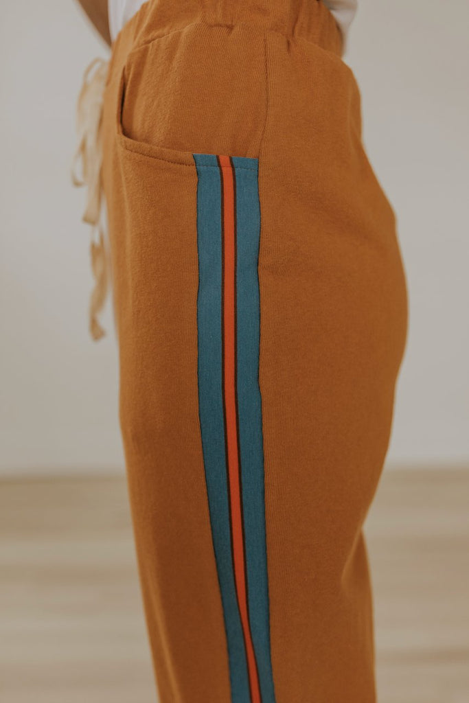 Blue stripe drawstring joggers | ROOLEE
