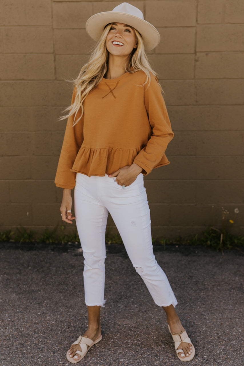 Long Sleeve Round Neck Peplum | ROOLEE