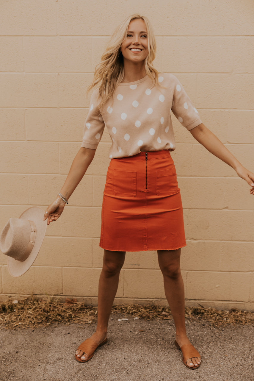 Red Mini Skirt for Summer | ROOLEE