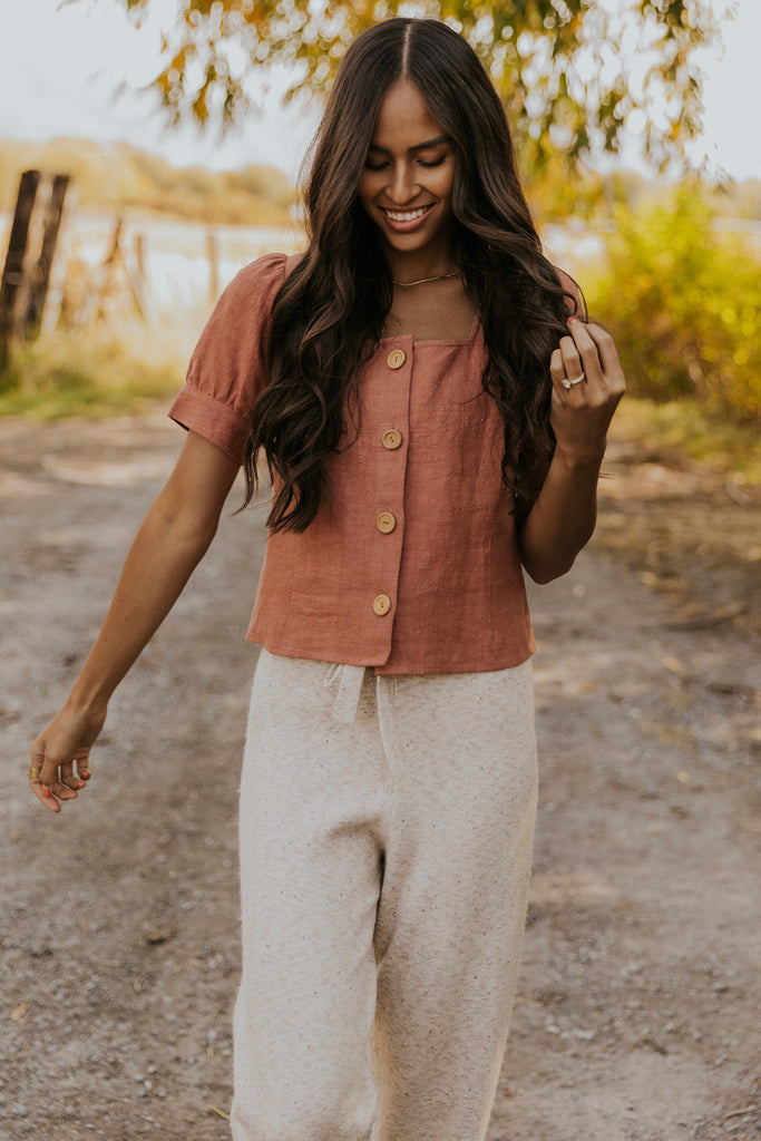 Salmon Button Up Blouse | ROOLEE