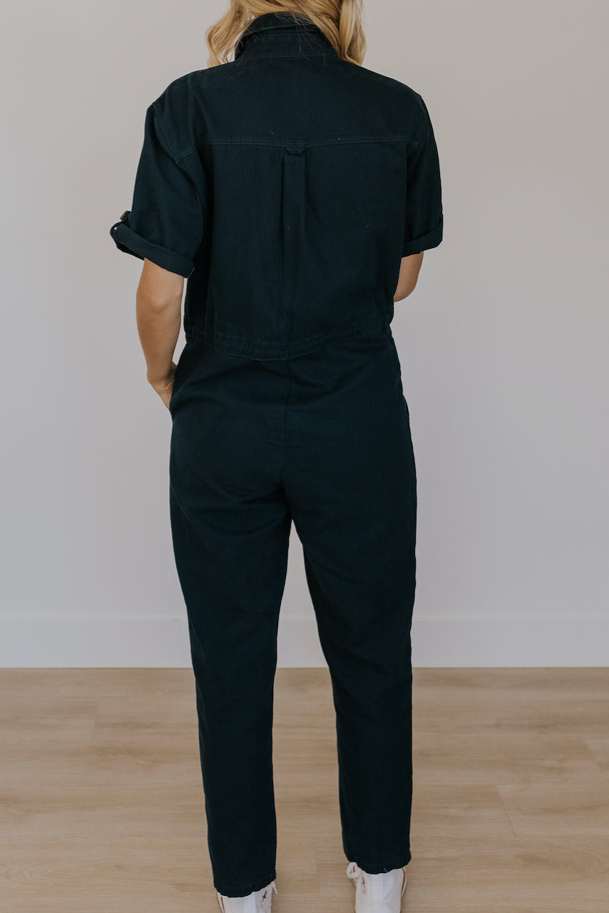 Navy Button Jumpsuit | ROOLEE