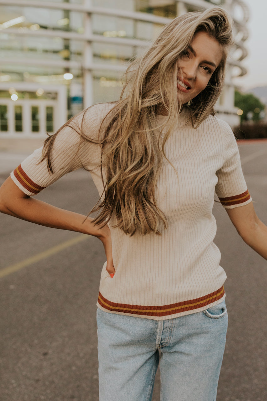 Cream Ribbed Knit Top | ROOLEE