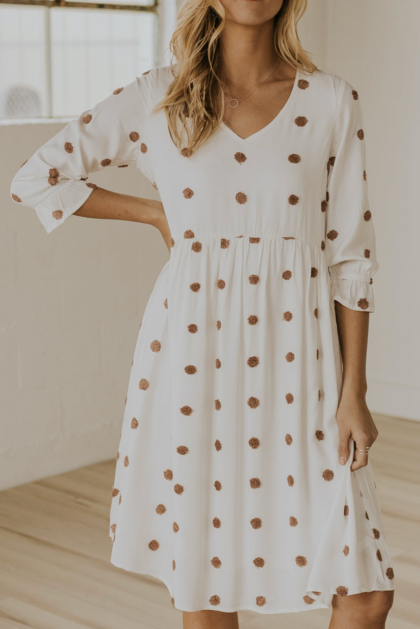 White spring polka dot dress | ROOLEE