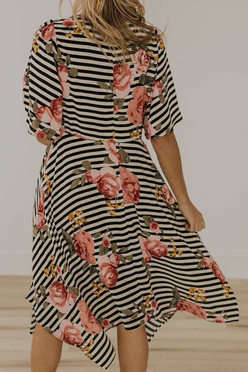 Striped floral dresses for events in spring | ROOLEE