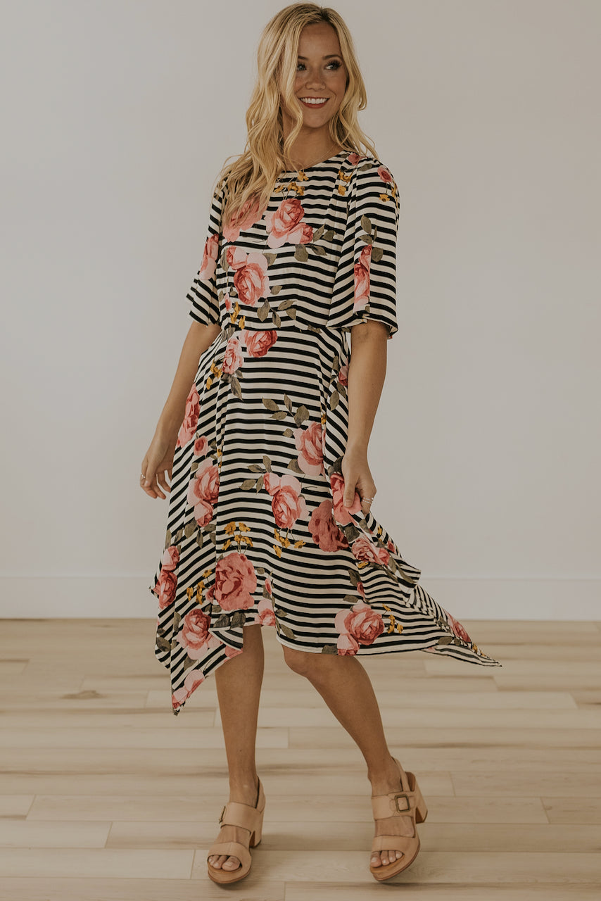 Modest striped floral dresses | ROOLEE
