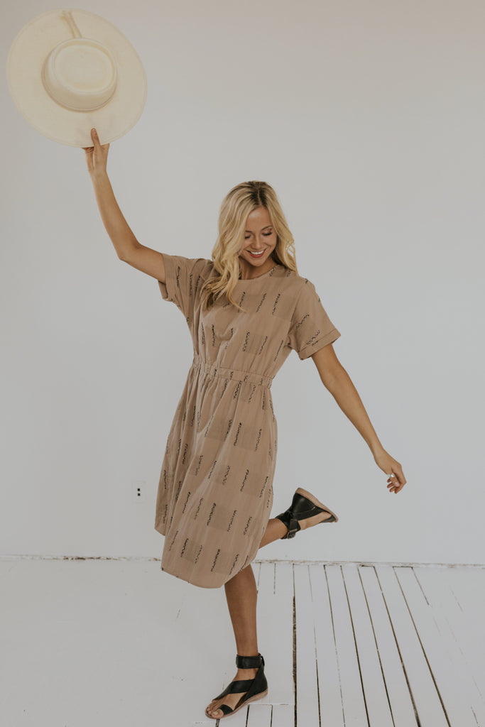 Taupe Embroidered Dress | ROOLEE