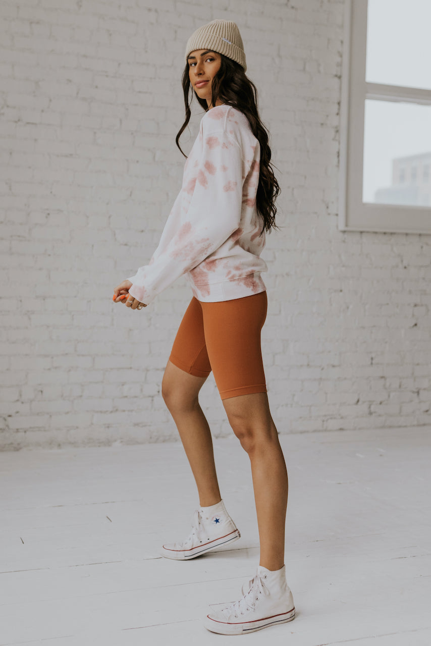 Pink tie dye athleisure pullover | ROOLEE
