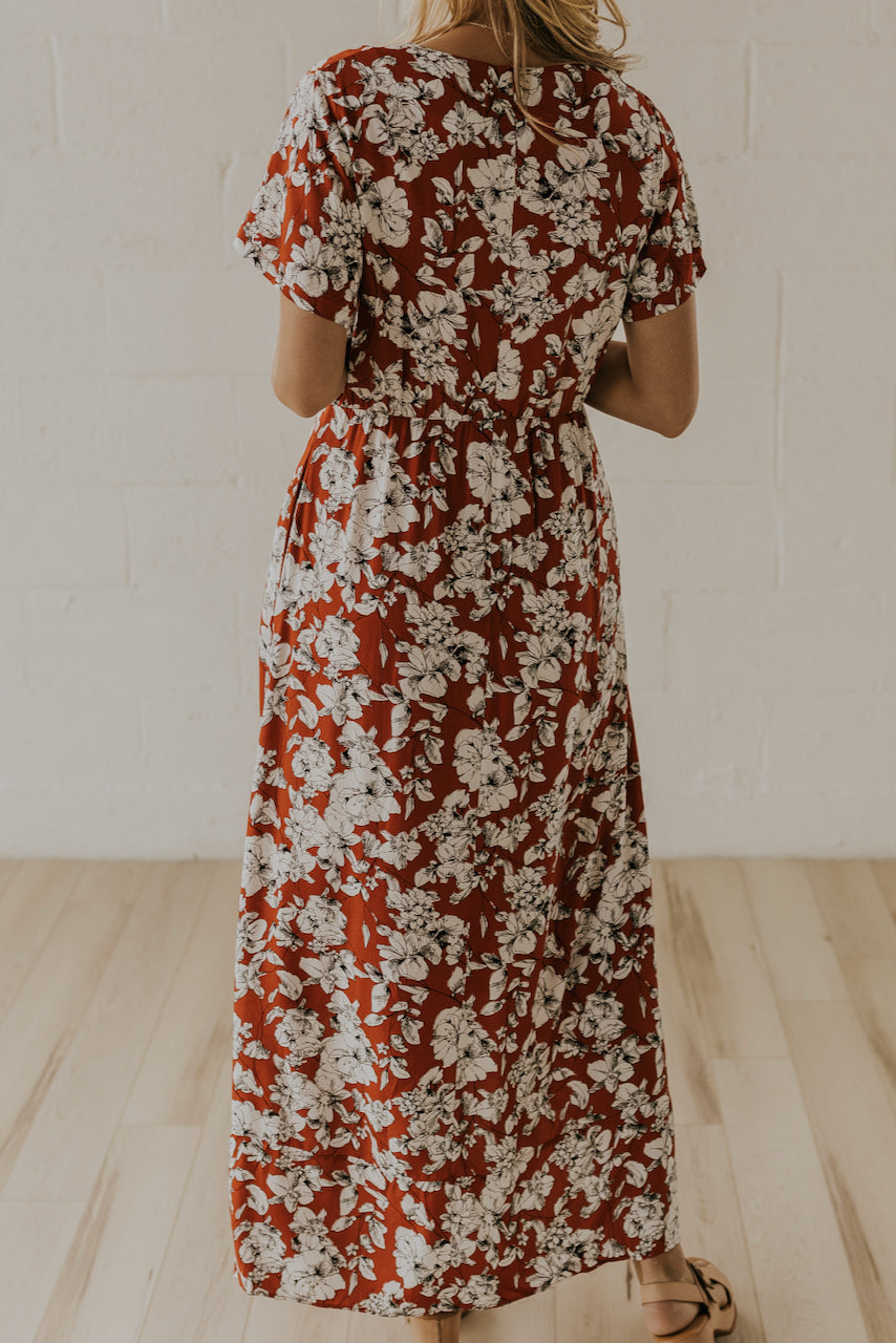 Rust floral print wrap dress | ROOLEE