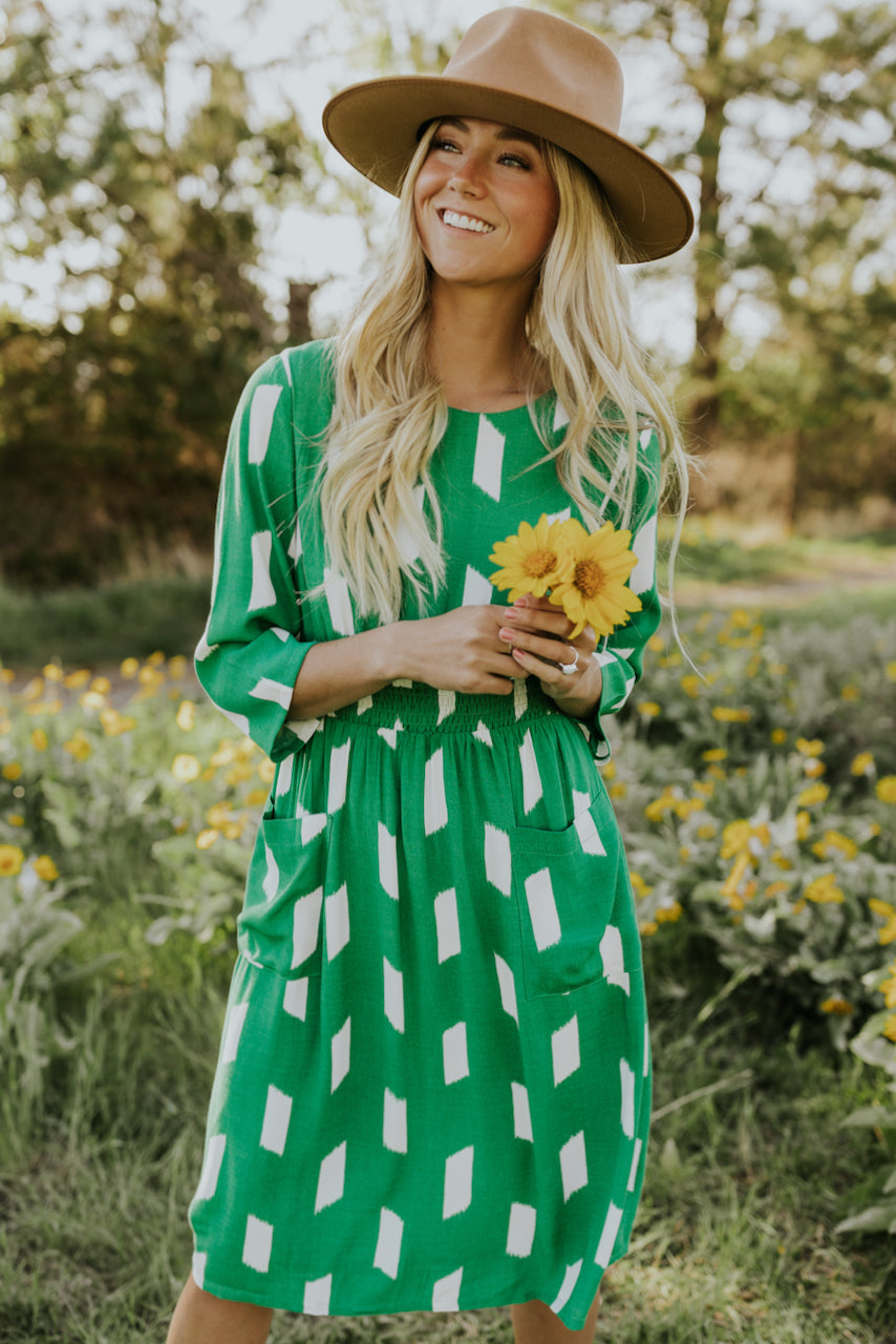 Printed Green Dress | ROOLEE