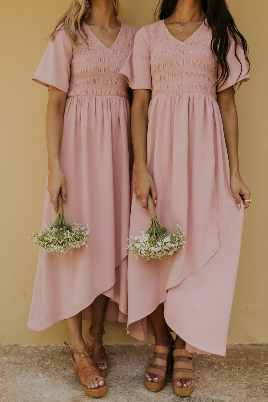 Light Pink Smocked Bodice Bridesmaid Dress | ROOLEE