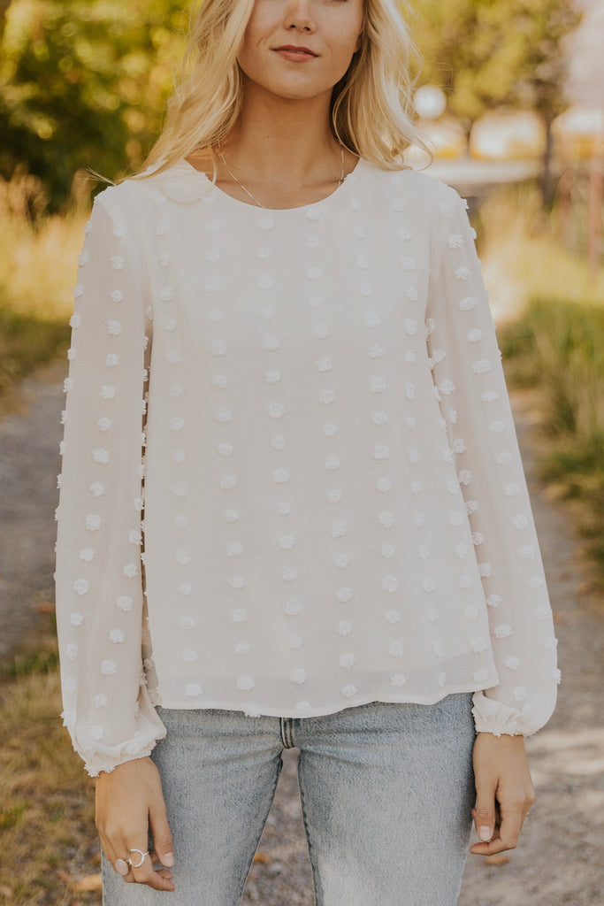 White formal dot blouses | ROOLEE